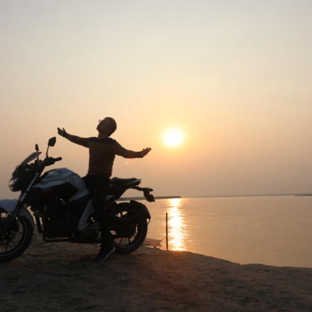 Koshi barrage, Sunset Koshi